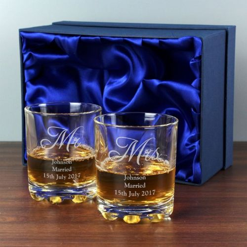 Personalised Mr & Mrs Pair of Whisky Tumblers